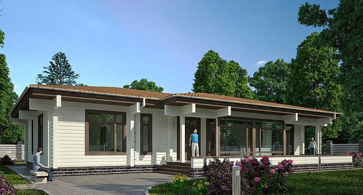 Проект одноэтажного дома из оцилиндрованного бревна №106