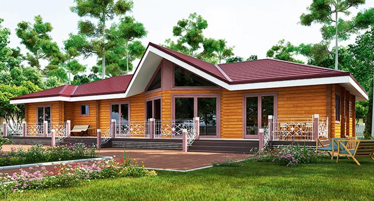 Проект одноэтажного дома из оцилиндрованного бревна №108