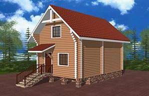 "Проект дома ""Иско"", оцилиндрованное бревно, 35 кв.м."