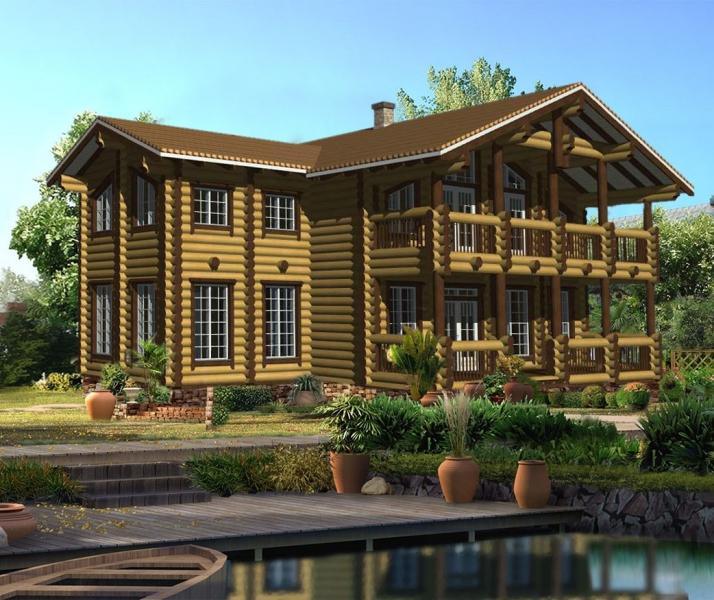"""Проект дома """"Колга"""", оцилиндрованное бревно, 225 кв.м."""