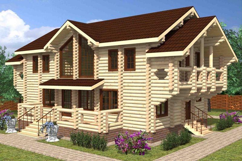 """Проект дома """"Вера"""", оцилиндрованное бревно, 288 кв.м."""