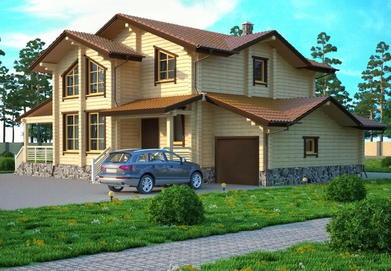 """Проект дома """"Тея"""", оцилиндрованное бревно, 120 кв.м."""