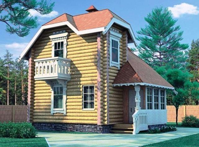 """Проект дома """"Триберга"""", оцилиндрованное бревно, 30 кв.м."""