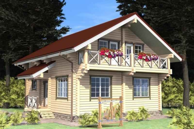 """Проект дома """"Араго"""", оцилиндрованное бревно, 72 кв.м."""