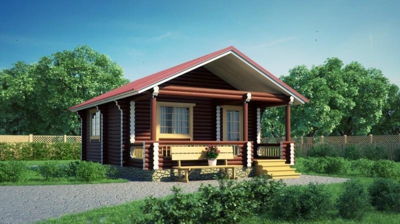 "Проект дома ""Стасов"", оцилиндрованное бревно, 48 кв.м."