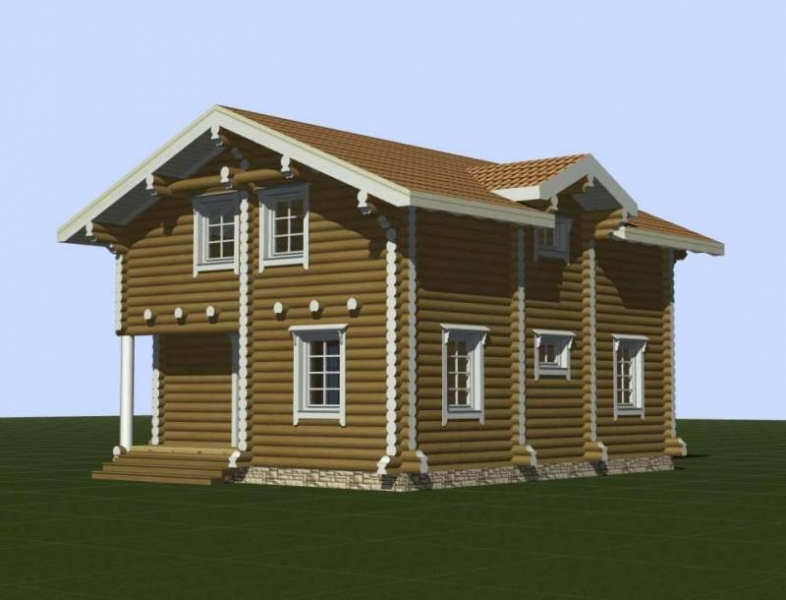 "Проект дома ""Антония"", оцилиндрованное бревно, 63 кв.м."