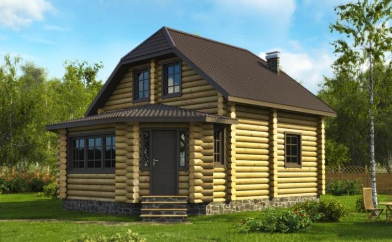 """Проект дома """"Камерон"""", оцилиндрованное бревно, 63 кв.м."""