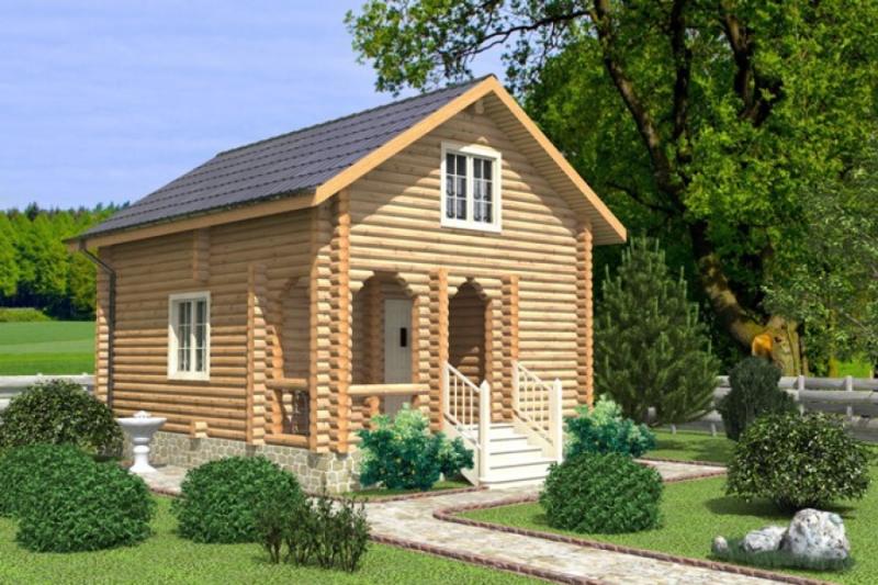 """Проект дома """"Гауди"""", оцилиндрованное бревно, 35 кв.м."""