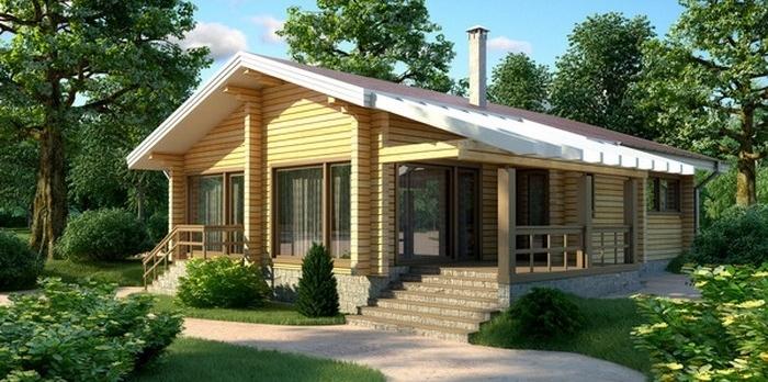 """Проект дома """"Лаодамия"""", профилированный брус, 87.3 кв.м."""
