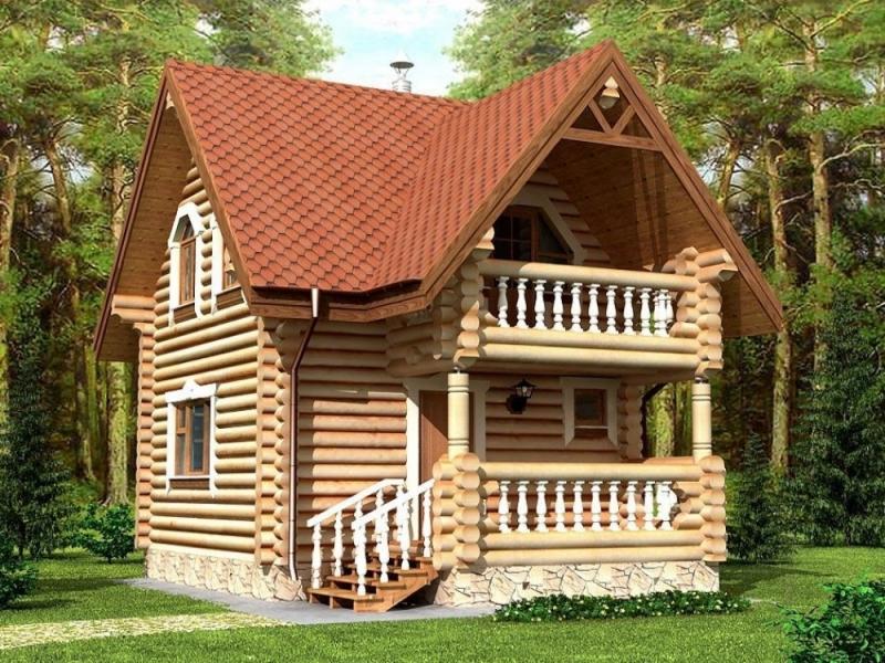 """Проект дома """"Далера"""", оцилиндрованное бревно, 35 кв.м."""