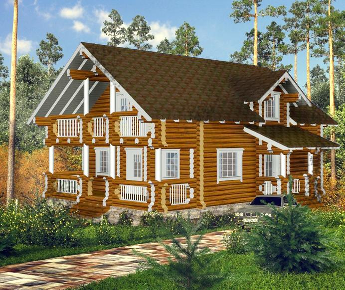 """Проект дома """" Антиопа"""", оцилиндрованное бревно, 108 кв.м."""