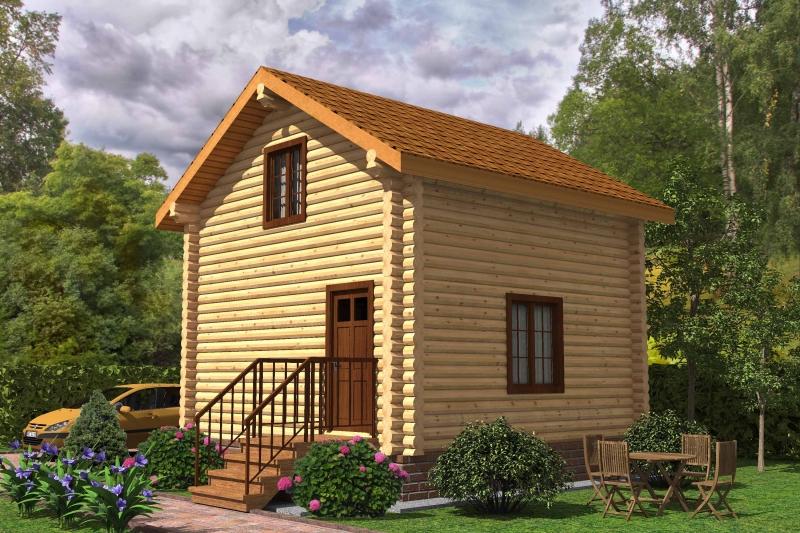 """Проект дома """"Алина"""", оцилиндрованное бревно, 25 кв.м."""