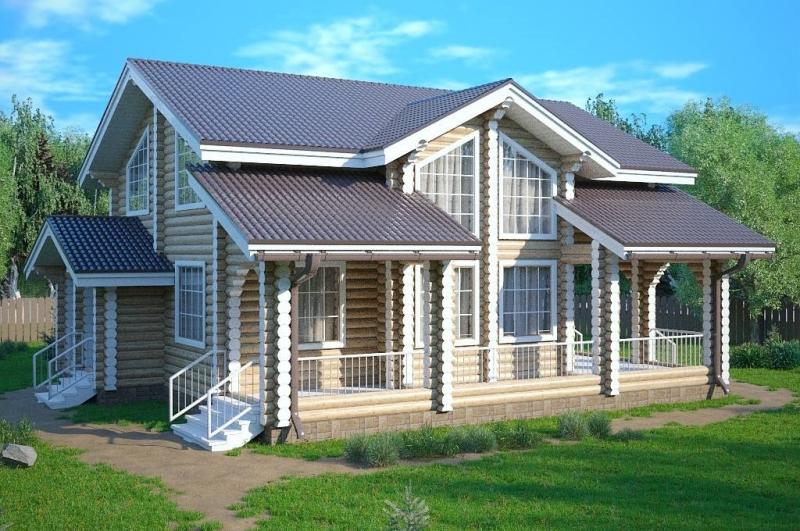 """Проект дома """"Муски"""", оцилиндрованное бревно, 144 кв.м."""