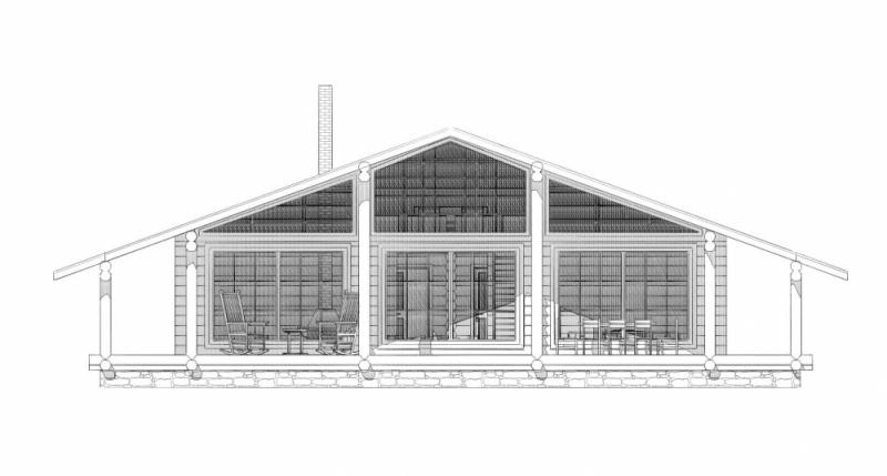 "Проект дома ""Стробантия"", оцилиндрованное бревно, 244 кв.м."