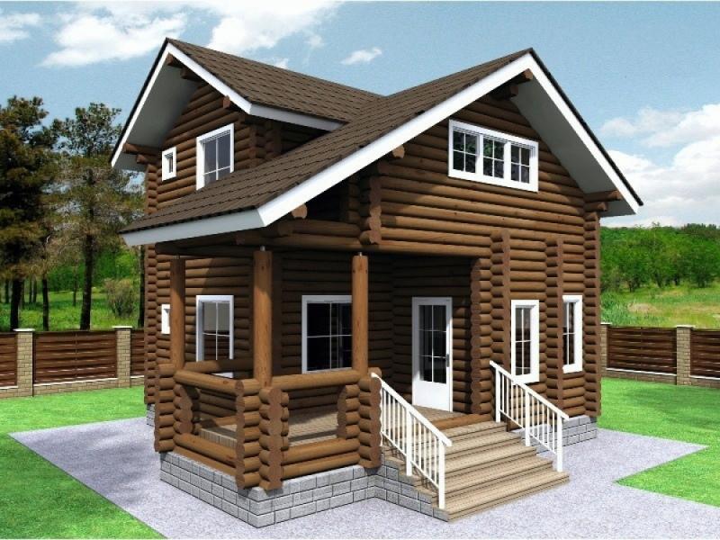 "Проект дома ""Киммерия"", оцилиндрованное бревно, 56 кв.м."
