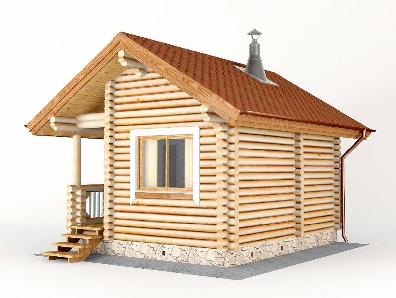 """Проект дома """"Ева"""", оцилиндрованное бревно, 25 кв.м."""