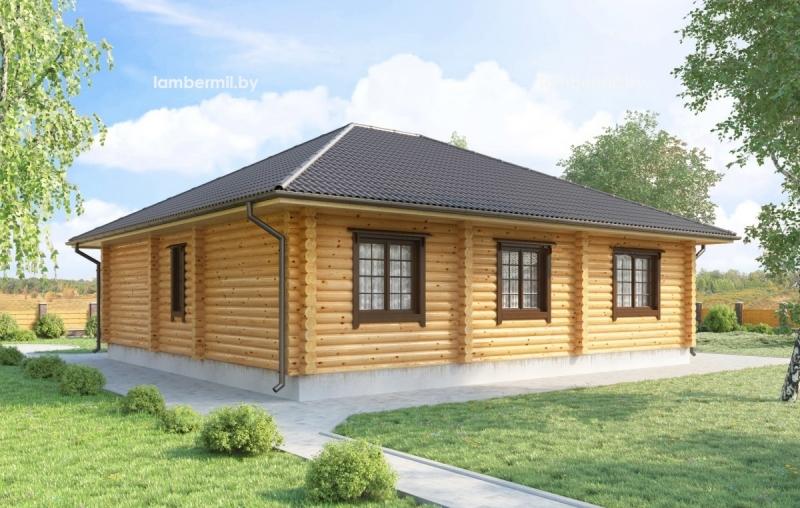 """Проект дома """"Маллоу"""", оцилиндрованное бревно, 121 кв.м."""