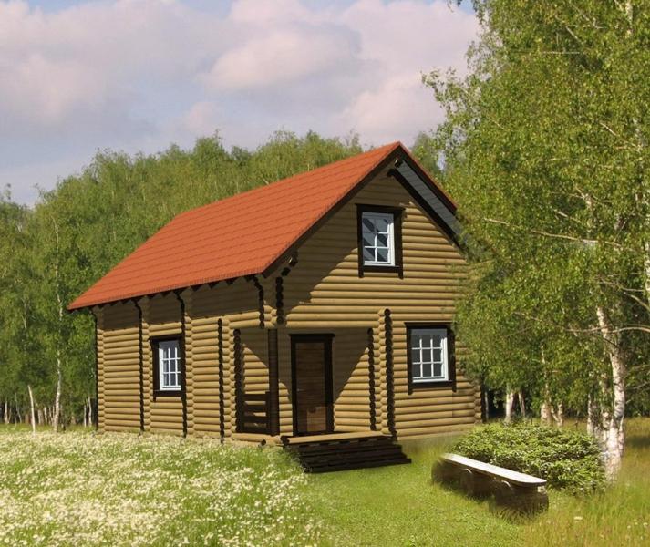 """Проект дома """"Кисо"""", оцилиндрованное бревно, 35 кв.м."""