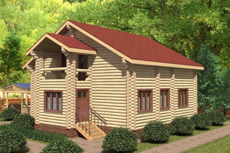 """Проект дома """"Спирея"""", оцилиндрованное бревно, 90 кв.м."""