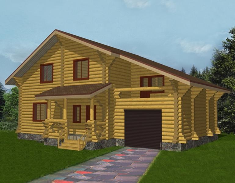 """Проект дома """"Кунигунда"""", оцилиндрованное бревно, 120 кв.м."""