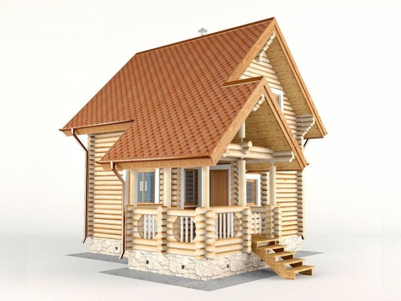 """Проект дома """"Анкор"""", оцилиндрованное бревно, 49 кв.м."""