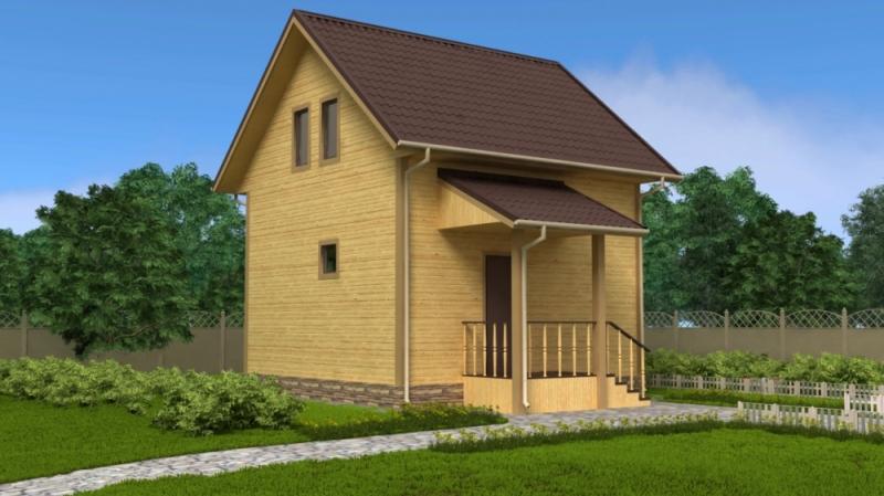 """Проект дома """"Пальма"""", профилированный брус, 55.91 кв.м."""