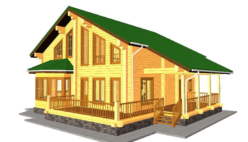 """Проект дома """"Пенелопа"""", профилированный брус, 167.1 кв.м."""