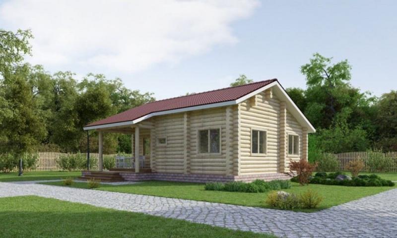 "Проект дома ""Эльза"", оцилиндрованное бревно, 80 кв.м."