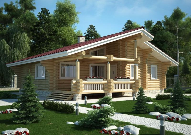 "Проект дома ""Ганимед"", оцилиндрованное бревно, 144 кв.м."