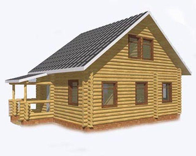 """Проект дома """"Дартмул"""", оцилиндрованное бревно, 42 кв.м."""