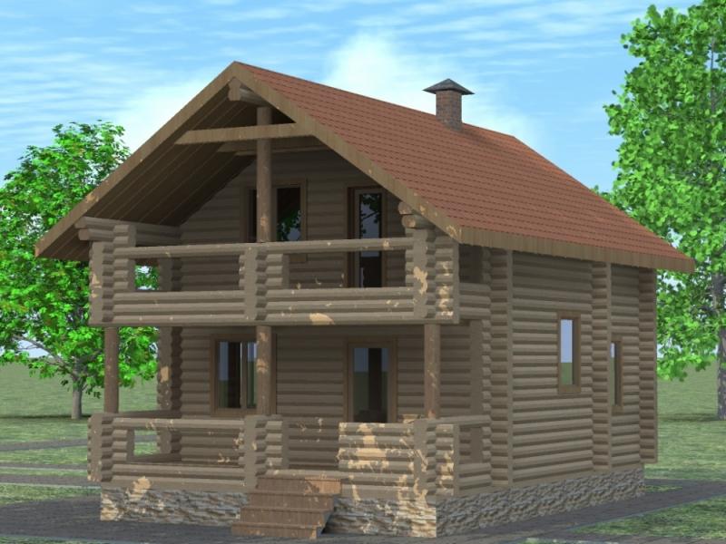 """Проект дома """"Отто"""", оцилиндрованное бревно, 54 кв.м."""
