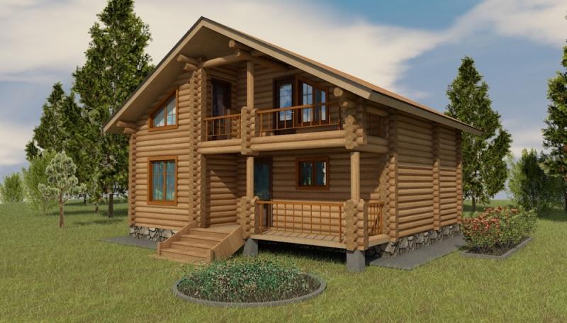 """Проект дома """"Бирр"""", оцилиндрованное бревно, 42 кв.м."""