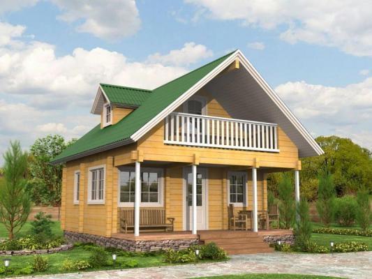 """Проект дома """"Генрика"""", профилированный брус, 57.88 кв.м."""