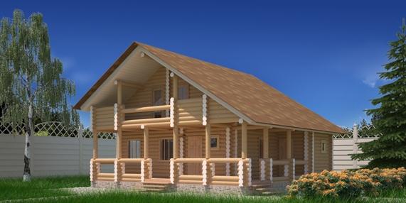 """Проект дома """"Нейт"""", оцилиндрованное бревно, 100 кв.м."""