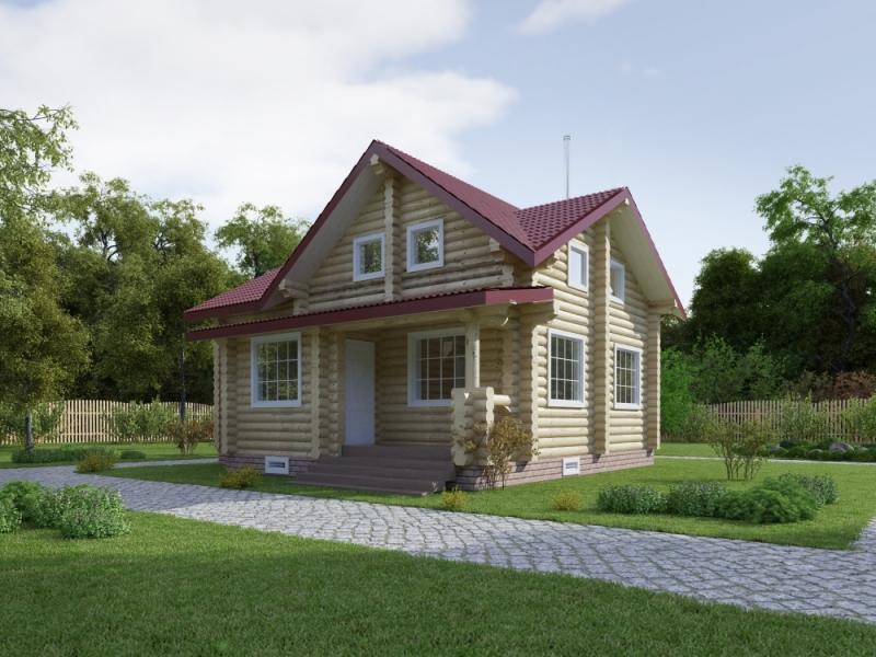 "Проект дома ""Верингия"", оцилиндрованное бревно, 81 кв.м."
