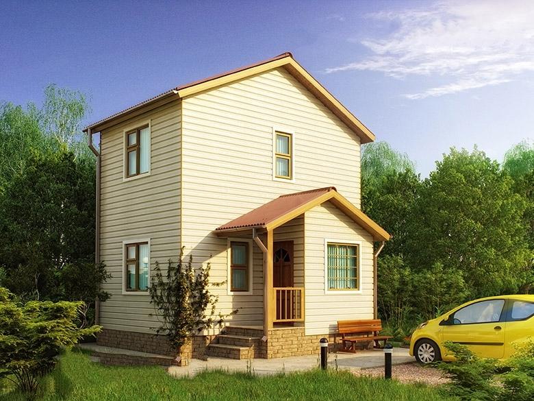 """Проект дома """"Сислей"""", профилированный брус, 60 кв.м."""