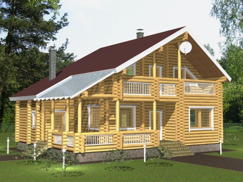 """Проект дома """"Баптистина"""", оцилиндрованное бревно, 120 кв.м."""