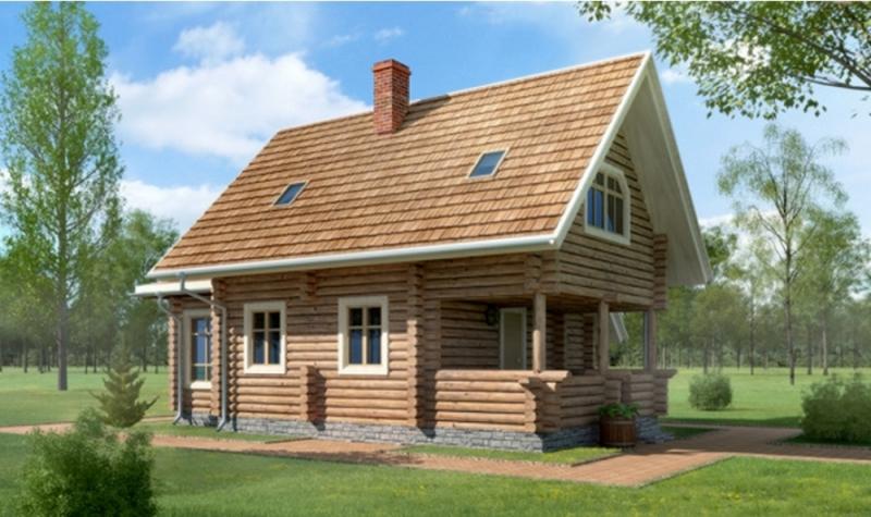 """Проект дома """"Аделаида"""", оцилиндрованное бревно, 40 кв.м."""