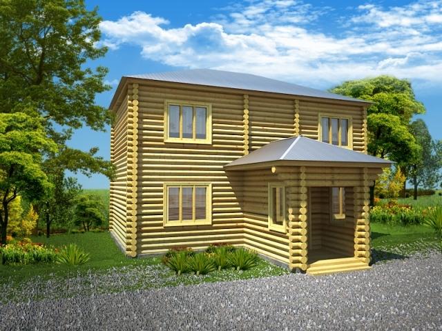 "Проект дома ""Тотнес"", оцилиндрованное бревно, 108 кв.м."