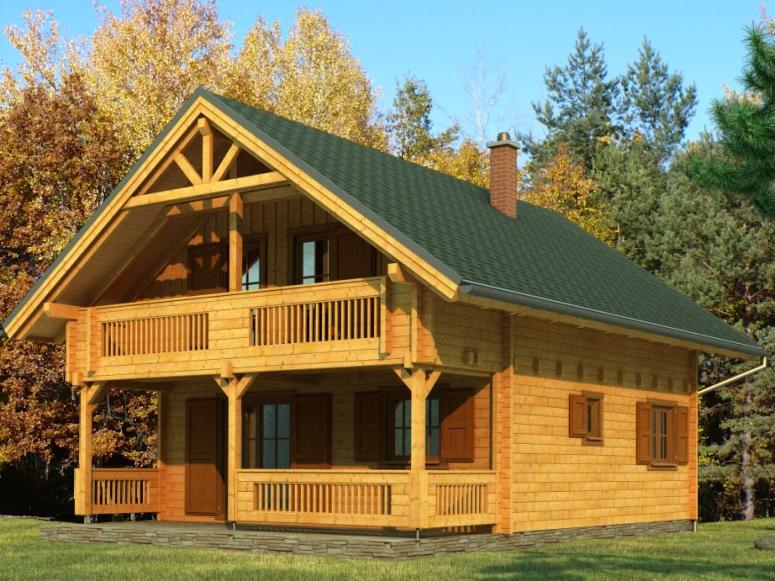 """Проект дома """"Ванкувер"""", профилированный брус, 80 кв.м."""
