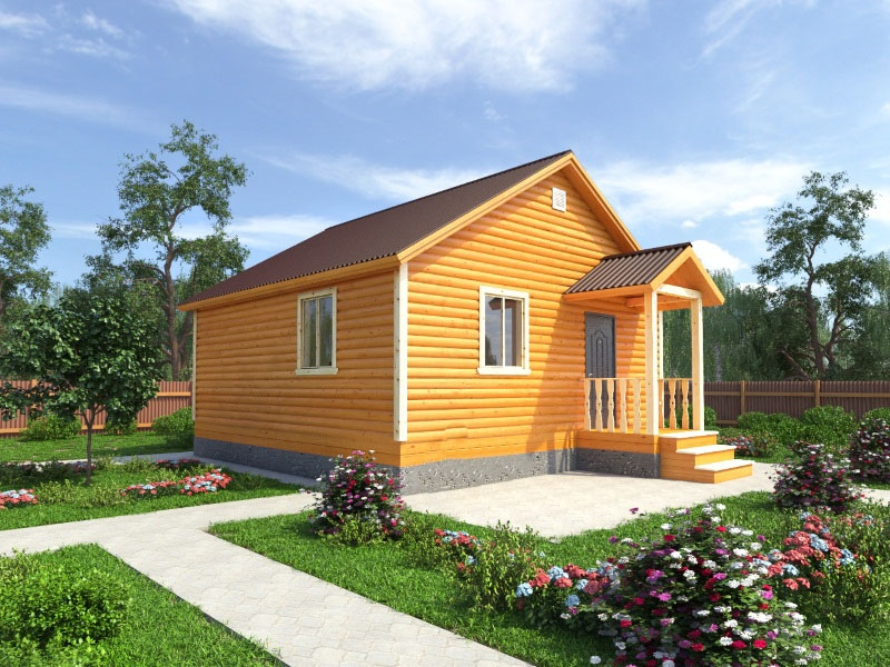 """Проект дома """"Кларисса"""", профилированный брус, 44.6 кв.м."""