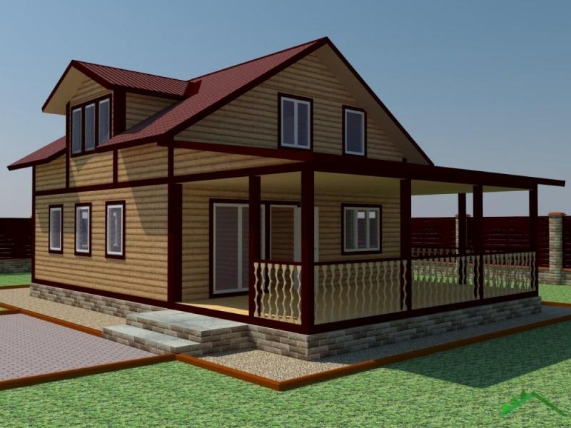 """Проект дома """"Памина"""", профилированный брус, 82 кв.м."""