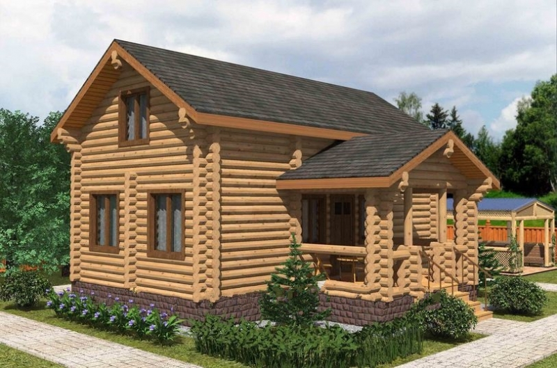 "Проект дома ""Тюрингия"", оцилиндрованное бревно, 72 кв.м."