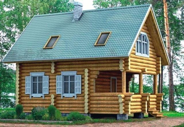"Проект дома ""Скандинавский"", оцилиндрованное бревно, 40 кв.м."
