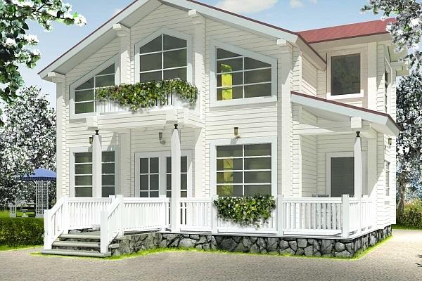 """Проект дома """"Лайн"""", профилированный брус, 80 кв.м."""