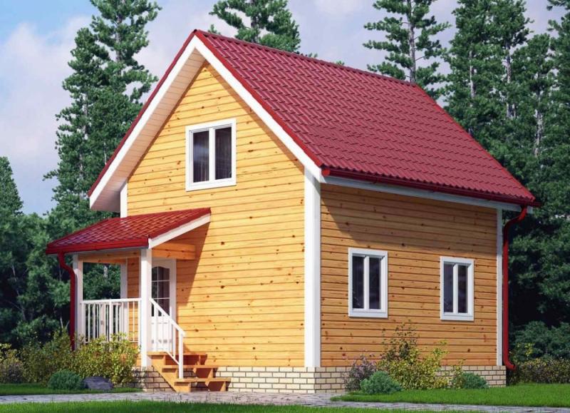 """Проект дома """"Урсула"""", профилированный брус, 70 кв.м."""