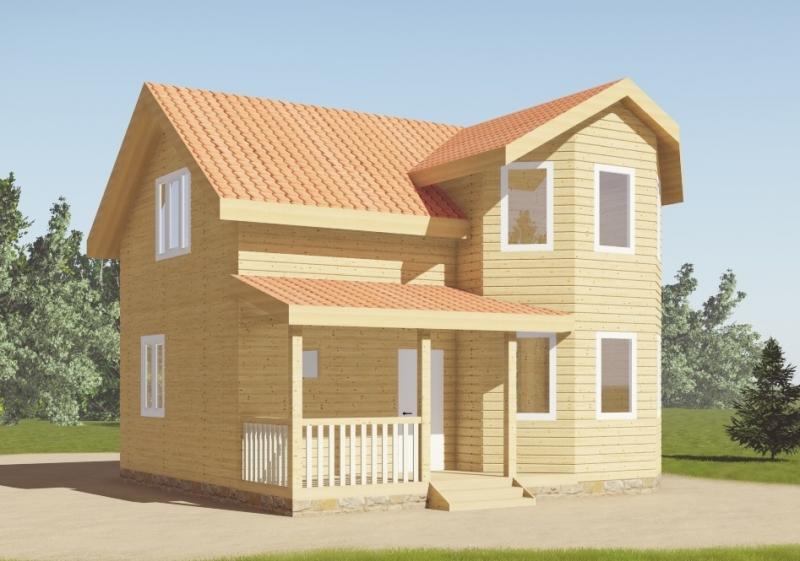 """Проект дома """"Веритас"""", профилированный брус, 90.23 кв.м."""