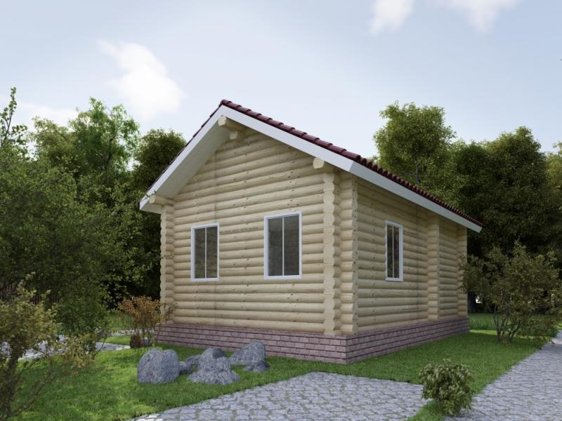 """Проект дома """"Долгопрудный"""", оцилиндрованное бревно, 48 кв.м."""