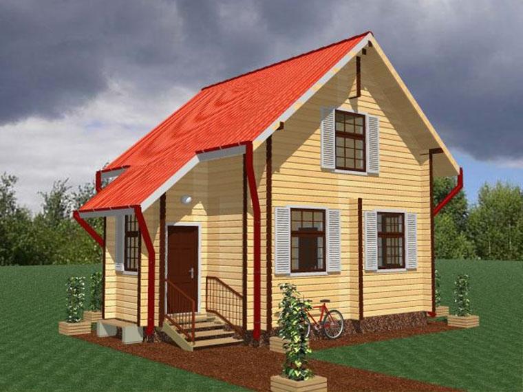 """Проект дома """"Макао"""", оцилиндрованное бревно, 36 кв.м."""