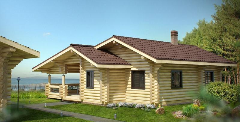 """Проект дома """"Проект ОБД-168"""", оцилиндрованное бревно, 100 кв.м."""